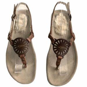 UGG Ayden medallion brown metallic sandal sz 8